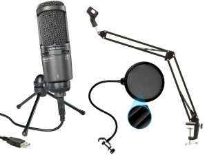 AUDIO-TECHNICA AT2020USB+ + statyw radiowy LONG + Pop-Filtr